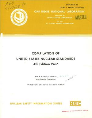 Primary view of object titled 'COMPILATION OF UNITED STATES NUCLEAR STANDARDS. 4th Edition, 1967.'.