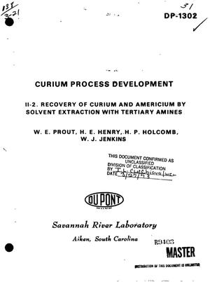 Primary view of object titled 'Curium process development. II-2. Recovery of curium and americium by solvent extraction with tertiary amines.'.