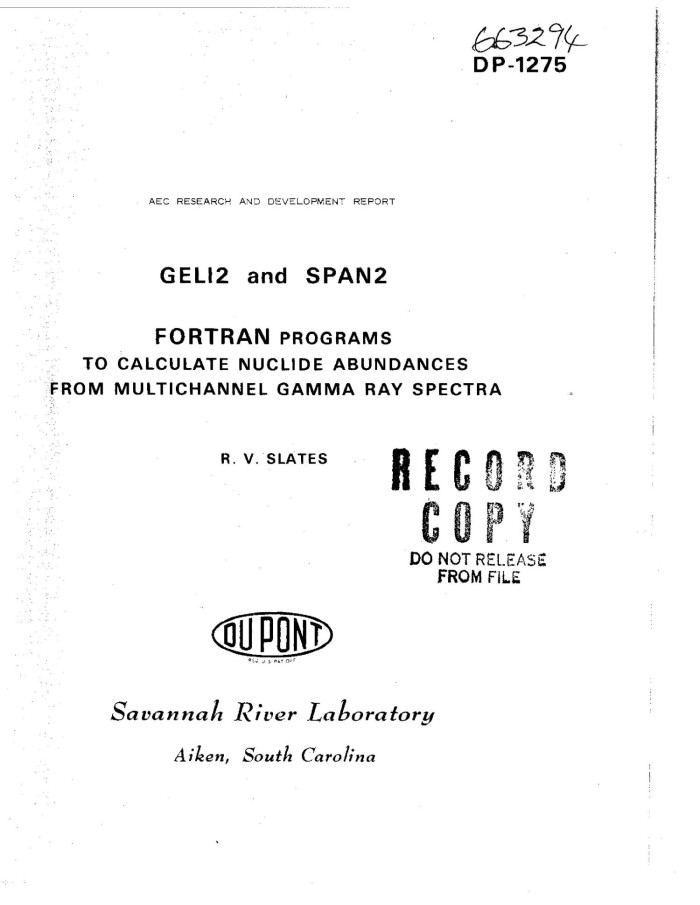 GELI2 AND SPAN 2: FORTRAN PROGRAMS TO CALCULATE NUCLIDE