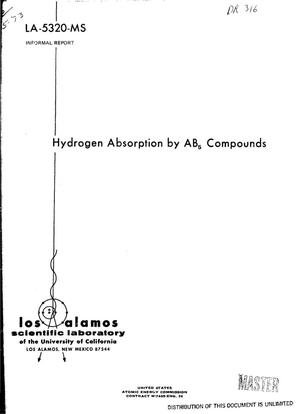 Primary view of object titled 'Hydrogen absorption by AB$sub 5$ compounds'.
