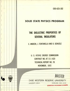 Primary view of object titled 'Solid State Physics Program. The Dielectric Properties of Several Insulators. Technical Report No. 78.'.