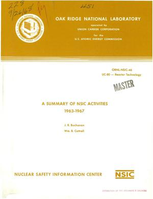 Primary view of object titled 'A SUMMARY OF NSIC ACTIVITIES, 1963--1967.'.