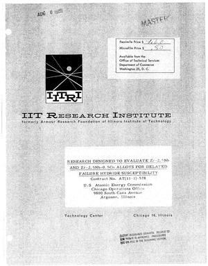 Primary view of object titled 'Research Designed to Evaluate Zr-2.5nb and Zr-2.5nb-0.5cu Alloys for Delayed Failure Hydride Susceptibility. Quarterly Report No. 3, April 15, 1963-July 14, 1963'.
