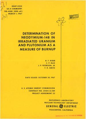 Primary view of object titled 'DETERMINATION OF $sup 148$Nd IN IRRADIATED URANIUM AND PLUTONIUM AS A MEASURE OF BURNUP.'.