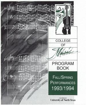 Primary view of object titled 'College of Music program book 1993-1994 Fall/Spring Performances'.