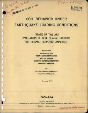 Primary view of object titled 'SOIL BEHAVIOR UNDER EARTHQUAKE LOADING CONDITIONS.'.