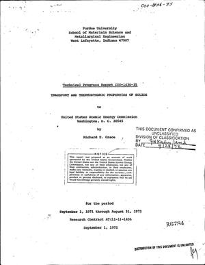 Primary view of object titled 'TRANSPORT AND THERMODYNAMIC PROPERTIES OF SOLIDS. Technical Progress Report, September 1, 1971--August 31, 1972.'.
