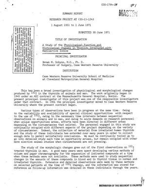 Primary view of object titled 'Study of the Physiological Function and Histological Changes in Thyroids Irradiated With Radioactive Iodine. Summary Report, August 1, 1951--June 1, 1971.'.