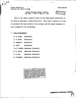 Primary view of object titled 'ANNUAL PROGRESS REPORT, TASK B, JUNE 1, 1971--MAY 31, 1972.'.