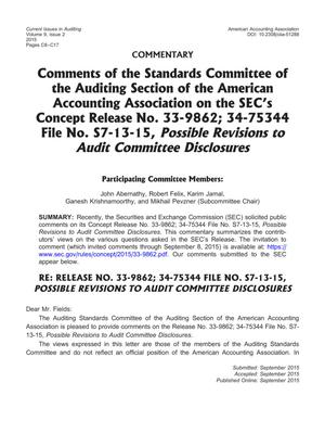 Comments of the Standards Committee of the Auditing Section of the American Accounting Association on the SEC's Concept Release No. 33-9862; 34-75344 File No. S7-13-15, Possible Revisions to Audit Committee Disclosures