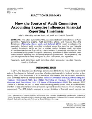 How the Source of Audit Committee Accounting Expertise Influences Financial Reporting Timeliness