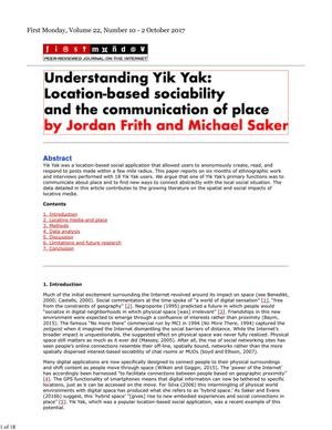 Primary view of object titled 'Understanding Yik Yak: Location-based sociability and the communication of place'.