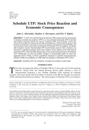 Primary view of object titled 'Schedule UTP: Stock Price Reaction and Economic Consequences'.