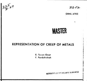 Primary view of object titled 'REPRESENTATION OF CREEP OF METALS.'.