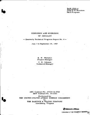 Primary view of object titled 'CORROSION AND HYDRIDING OF ZIRCALOY. Quarterly Technical Progress Report No. 4, July 1 to September 30, 1967.'.