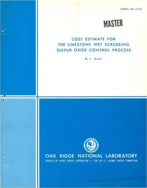 Primary view of object titled 'Cost estimate for the limestone wet scrubbing sulfur oxide control process'.