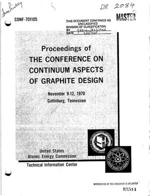 Primary view of object titled 'PROCEEDINGS OF THE CONFERENCE ON CONTINUUM ASPECTS OF GRAPHITE DESIGN, GATLINBURG, TENNESSEE, NOVEMBER 9--12, 1970.'.