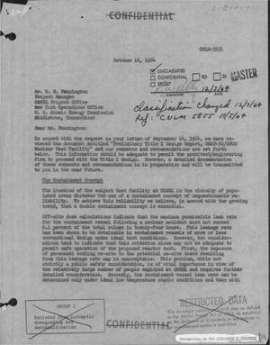 Primary view of object titled 'PRELIMINARY TITLE I DESIGN REPORT, SNAP-50/SPUR NUCLEAR TEST FACILITY: COMMENTS AND RECOMMENDATIONS. Letter Report.'.