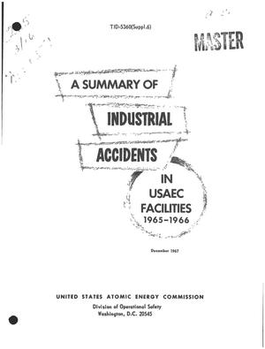 Primary view of object titled 'A SUMMARY OF INDUSTRIAL ACCIDENTS IN USAEC FACILITIES, 1965--1966.'.