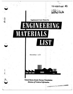 Primary view of object titled 'SUPPLEMENTAL INSERT SHEETS FOR ENGINEERING MATERIALS LIST.'.