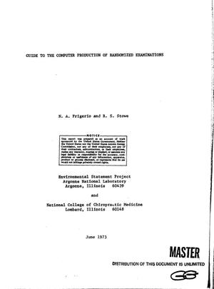 Primary view of object titled 'Guide to the computer production of randomized examinations'.