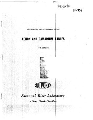 Primary view of object titled 'XENON AND SAMARIUM TABLES'.