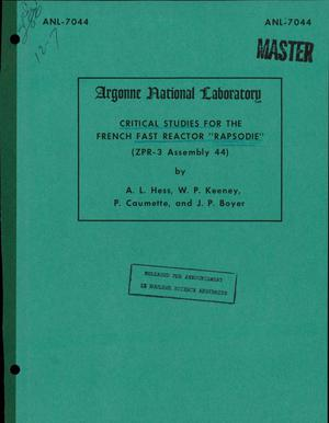Primary view of object titled 'CRITICAL STUDIES FOR THE FRENCH FAST REACTOR ''RAPSODIE'' (ZPR-3 ASSEMBLY 44).'.