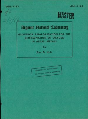 Primary view of object titled 'Glovebox Amalgamation for the Determination of Oxygen in Alkali Metals'.