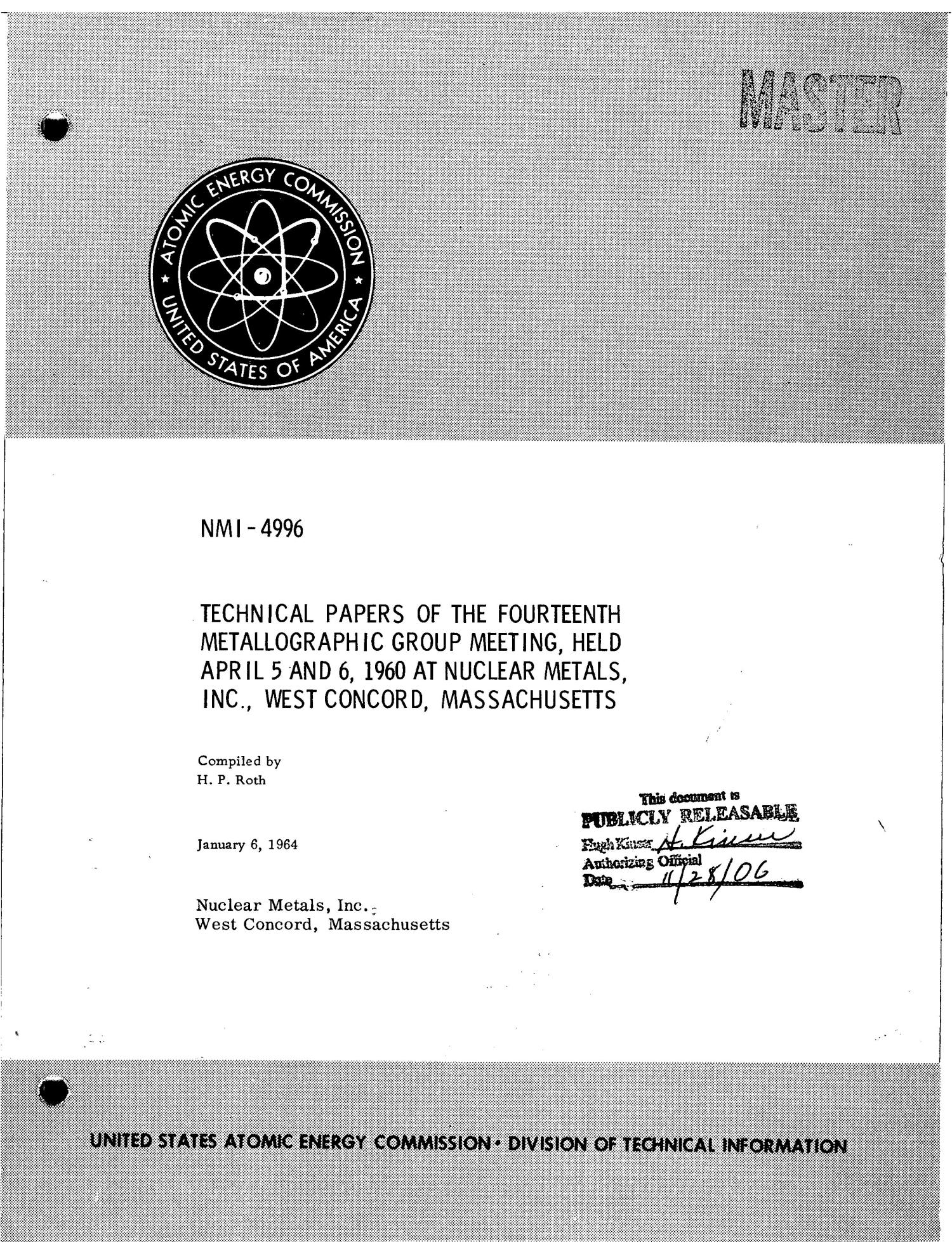 TECHNICAL PAPERS OF THE FOURTEENTH METALLOGRAPHIC GROUP MEETING, HELD APRIL 5-6, 1960 AT NUCLEAR METALS, INC., WEST CONCORD, MASSACHUSETTS                                                                                                      [Sequence #]: 1 of 179
