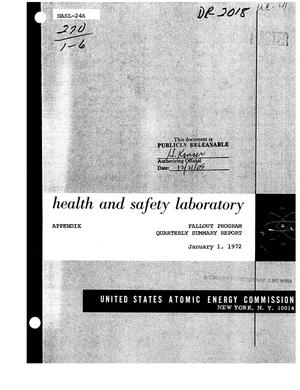 Primary view of object titled 'FALLOUT PROGRAM. Quarterly Summary Report, September 1--December 1971.'.