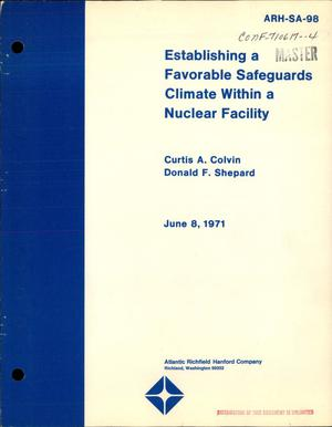 Primary view of object titled 'ESTABLISHING A FAVORABLE SAFEGUARDS CLIMATE WITHIN A NUCLEAR FACILITY.'.