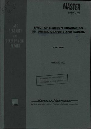 Primary view of object titled 'Effect of Neutron Irradiation on Uhtrex Graphite and Carbon'.
