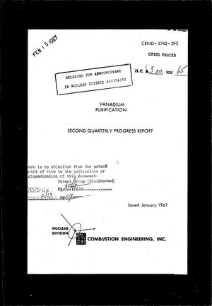 Primary view of object titled 'VANADIUM PURIFICATION. Quarterly Progress Report No. 2, October 1, 1966-- January 31, 1967.'.
