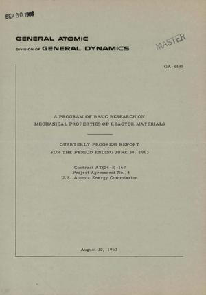 Primary view of object titled 'A Program of Basic Research on Mechanical Properties of Reactor Materials. Quarterly Progress Report for the Period Ending June 30, 1963'.