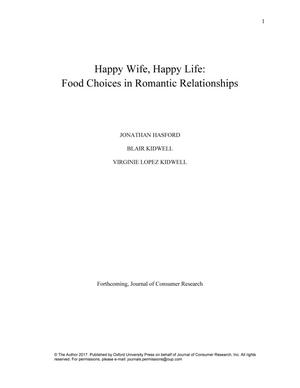 Primary view of object titled 'Happy Wife, Happy Life: Food Choices in Romantic Relationships'.