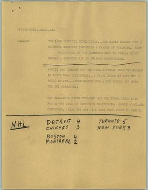 Primary view of object titled '[News Script: Sports five headlines]'.