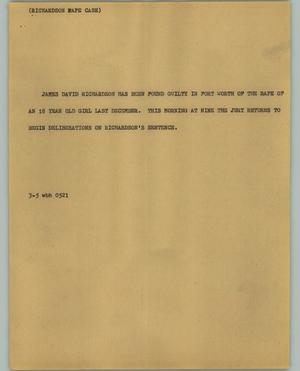 Primary view of object titled '[News Script: Richardson Rape Case]'.