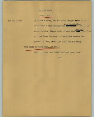 Primary view of object titled '[News Script: Trapped Miner]'.