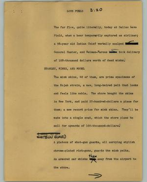 Primary view of object titled '[News Script: Love Field]'.
