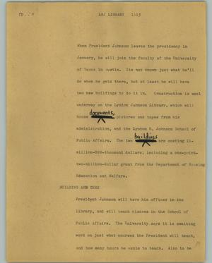Primary view of object titled '[News Script: LBJ Library]'.