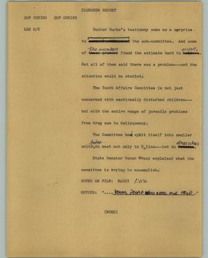 Primary view of object titled '[News Script: Elsesser report]'.