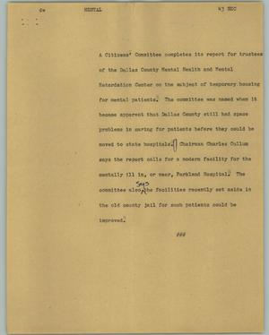 Primary view of object titled '[News Script: Mental]'.