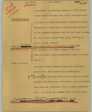 Primary view of object titled '[News Script: CAA center]'.