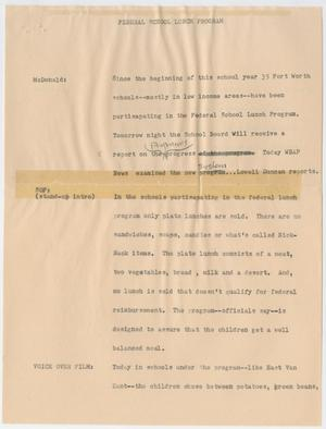 Primary view of object titled '[News Script: Federal School Lunch Program]'.