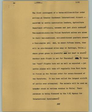 Primary view of object titled '[News Script: Cows]'.