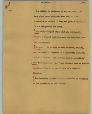 Primary view of object titled '[News Script: Masterson]'.
