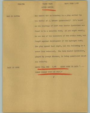 Primary view of object titled '[News Script: Theater]'.
