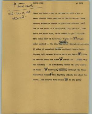 Primary view of object titled '[News Script: Bowie fire]'.