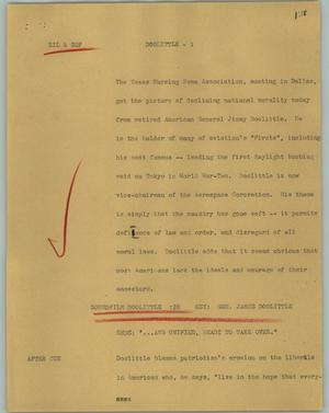 Primary view of object titled '[News Script: Doolittle]'.