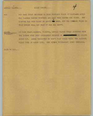 Primary view of object titled '[News Script: Arnold Palmer]'.